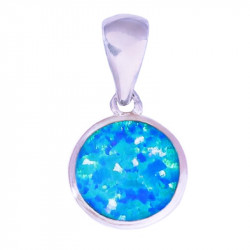 Круглый кулон с голубым опалом в серебре