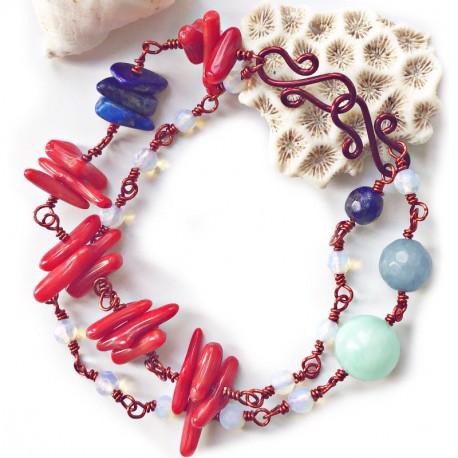 Медный коралловый браслет
