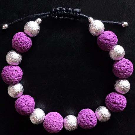 Фиолетовый петеный браслет из лавы