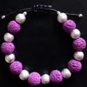 Фиолетовый плетеный браслет из лавы
