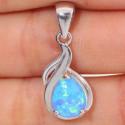 Кулон с голубым опалом в серебре