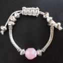 Плетеный браслет с розовым кварцем