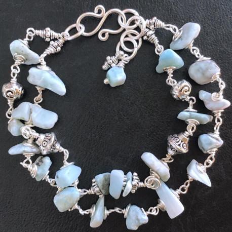 Двойной серебряный браслет из ларимара