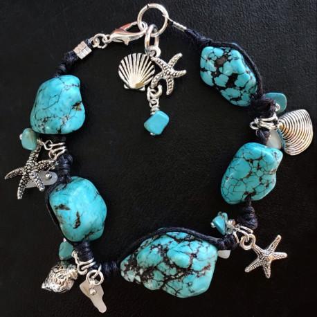 Морской плетеный браслет из бирюзы