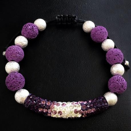 Фиолетовый плетеный браслет из вулканической лавы
