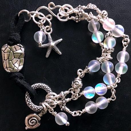 Морской браслет из искусственного лунного камня