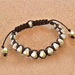 Плетеный браслет шамбала с камнями
