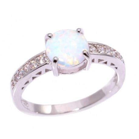 Серебряное кольцо с белым опалом 8 мм и цирконами