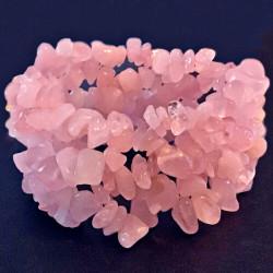 Широкий стрейчевый браслет из розового кварца