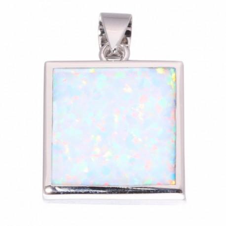 Большой квадратный серебряный кулон с опалом в серебре