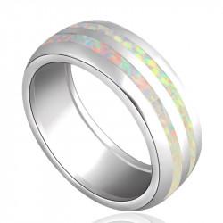 Широкое кольцо из белых опалов в серебре