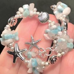 Морской браслет с ларимаром и лунным камнем