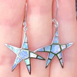 Морские звезды серьги опал в серебре