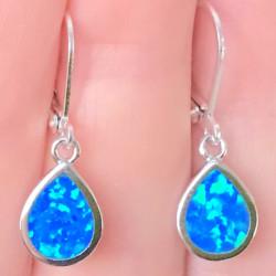 Серьги голубые опалы в серебре