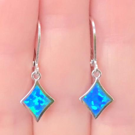 Серебряные серьги с голубыми опалами 9 мм