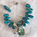 Бабочка с абалоном и яшма браслет с камнями