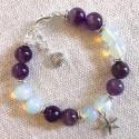 Морской браслет с аметистом и лунным камнем