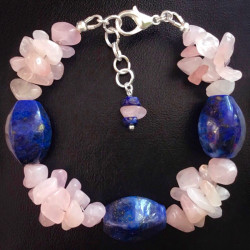 Лазурит браслет из розового кварца