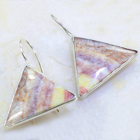 Треугольные серьги с яшмой