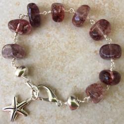 Клубничный кварц браслет с камнями