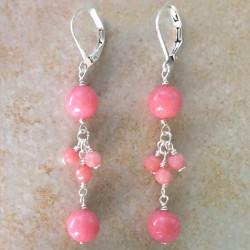 Природный нефрит розовый серьги с камнями