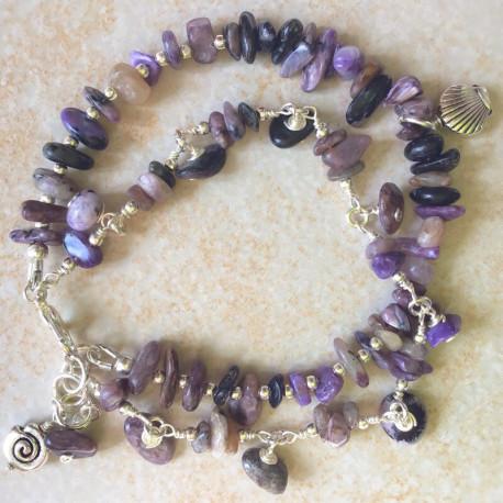 Чароит модный браслет из камней