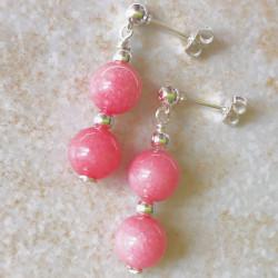 Розовый нефрит пусеты с камнями