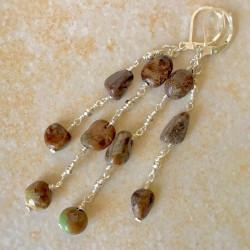Зеленый опал серьги с камнями