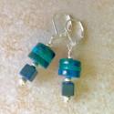 Хризоколла и яшма серьги с зеленым камнем