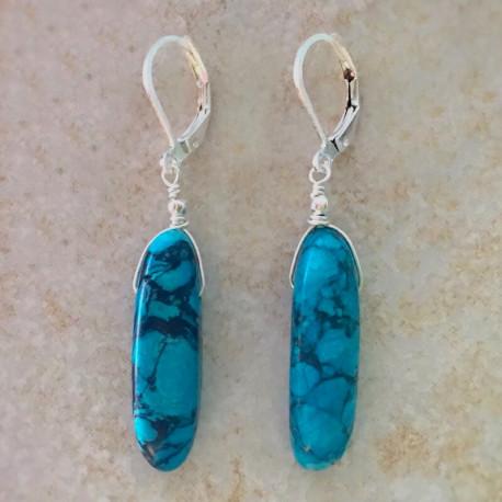 Голубая яшма серьги с камнями