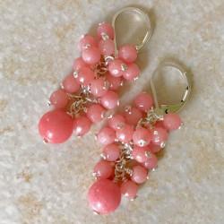 Натуральный нефрит розовый серьги с камнями