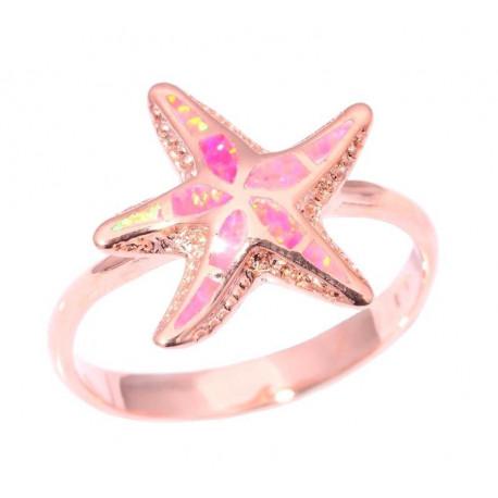 Кольцо позолоченное Морская звезда с опалом
