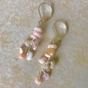 Длинные серьги с опалом розовым