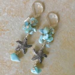 Морские звезды серьги с ларимаром
