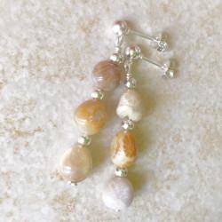 Серьги с кораллом пусеты с камнями