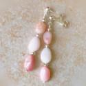 Длинные серьги с розовым опалом пусеты с камнями