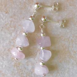 Серьги с розовым кварцем пусеты с камнями