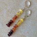 Модные длинные серьги с янтарем