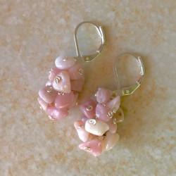 Модные серьги с опалом розовым