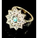Кольцо с зеленым опалом 4 мм, серебро, цирконы