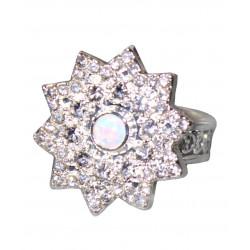 Кольцо с опалом 4 мм, серебро, цирконы