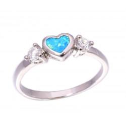 Кольцо Сердце из серебра с голубым опалом 4 мм и топазами