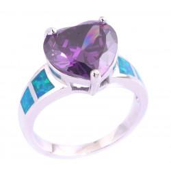 Кольцо Сердце: серебро, аметист 12 мм, голубые опалы