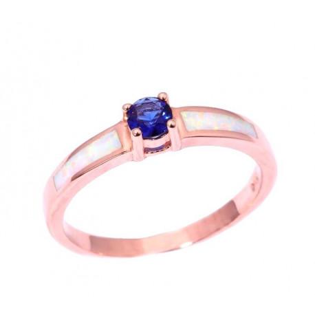 Позолоченное кольцо с выращенным сапфиром 4 мм и опалами