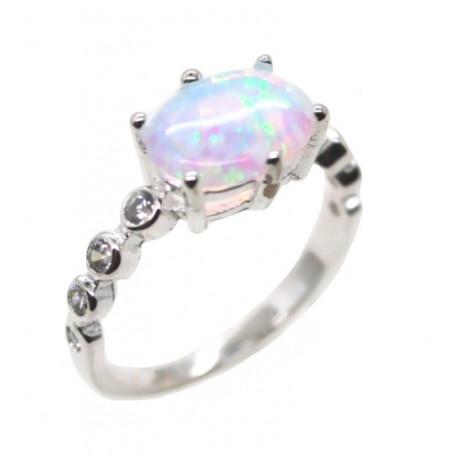 Серебряное кольцо с белым опалом 10 мм и цирконами