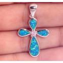 Кулон Крест из серебра с голубым опалом и топазом
