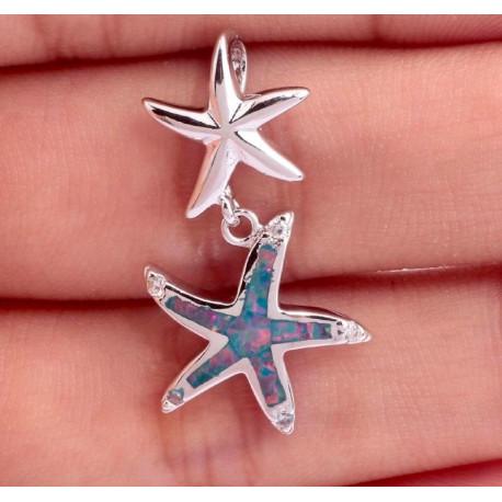 Кулон Морские звезды из серебра с радужным опалом