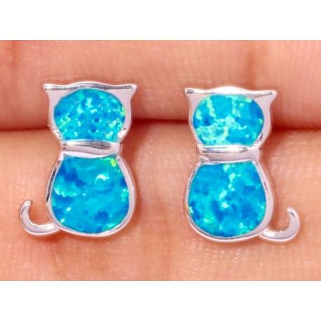 Серебряные серьги Кошки с голубым опалом