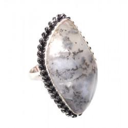 Моховой опал кольцо с натуральным опалом