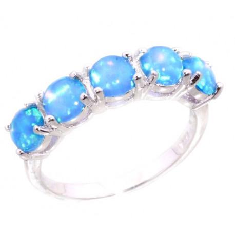 Кольцо из серебра с голубыми опалами